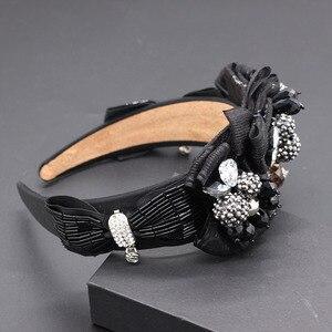 Image 5 - Travel and leisure personality headband  New fashion temperament exaggerated rhinestone bow headband 677