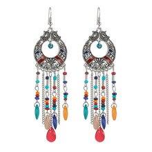 Vintage Bohemia Crystal Tassel Long Earrings For Women Bijoux Handmade Flower Silver Alloy Ear Fashion Jewelry