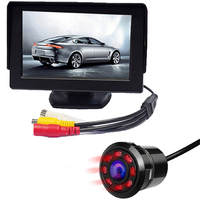2 In 1 4.3 Inch TFT LCD Car Display Monitor with HD Car Rear View Backup Reverse Parking Camera 8 IR Night Vision Vehicle Camera
