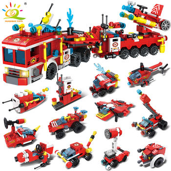 HUIQIBAO 670pcs Fire Fighting Trucks Car Station Helicopter Boat Building Blocks City Rescue Firefighter Bricks Toys Children 348pcs fire fighting 4in1 trucks car helicopter boat building blocks compatible lepining city firefighter figures children toys