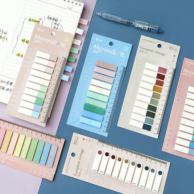 200 листов/уп Morandi бумаги для заметок на клейкой основе для домашних животных Водонепроницаемый наклейки для ежедневника индекс закладка для...
