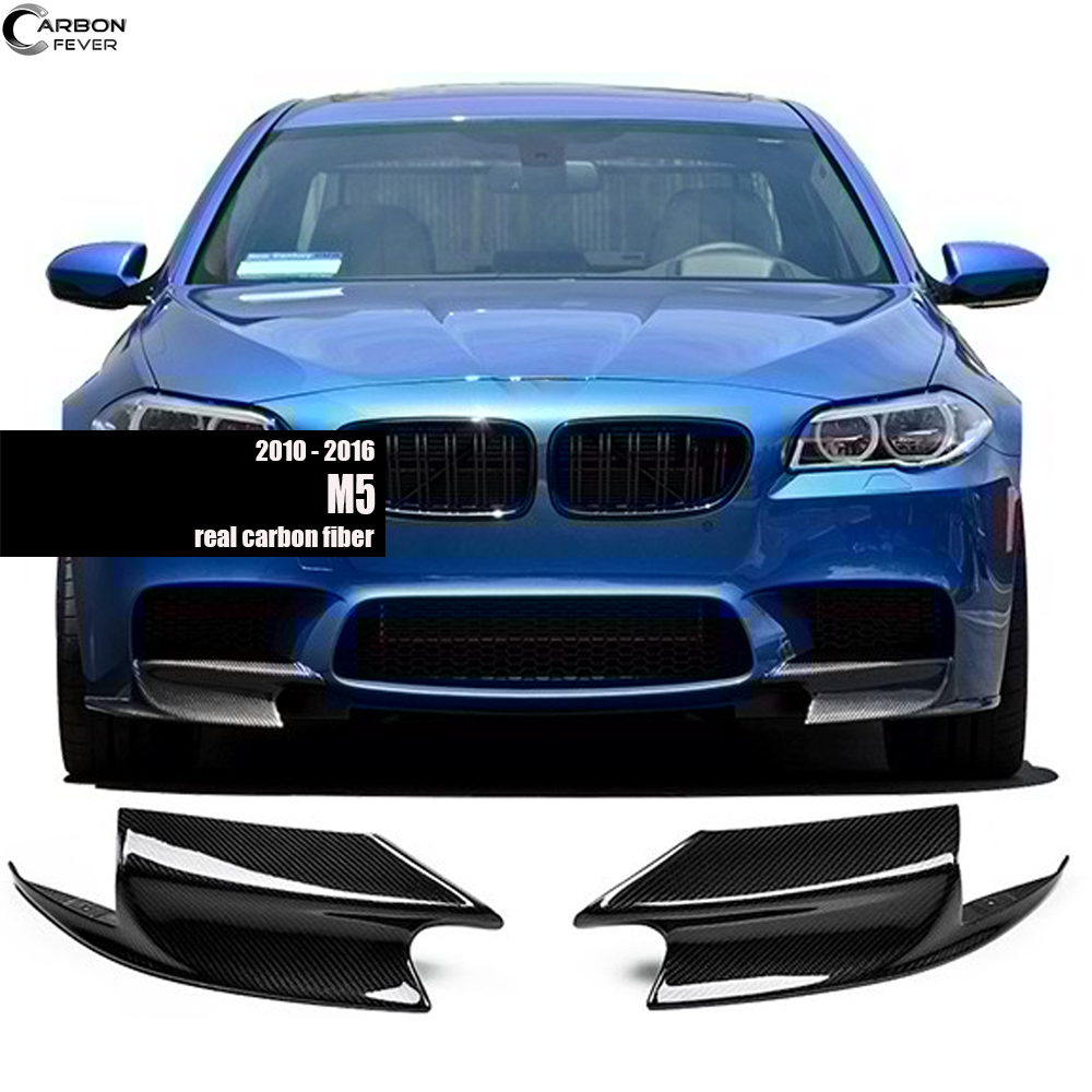 Pair of Carbon Fiber Front <font><b>Bumper</b></font> Splitters for <font><b>BMW</b></font> M5 2010 - 2016 (<font><b>F10</b></font> M5) image