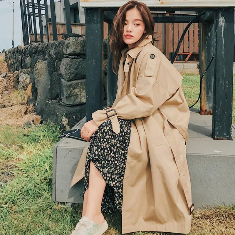 2019 Spring Fall Women Korea With Belt Long Khaki   Trench   Coat Turn-Down Collar Female Casual Double-Breasted Windbreaker Coat