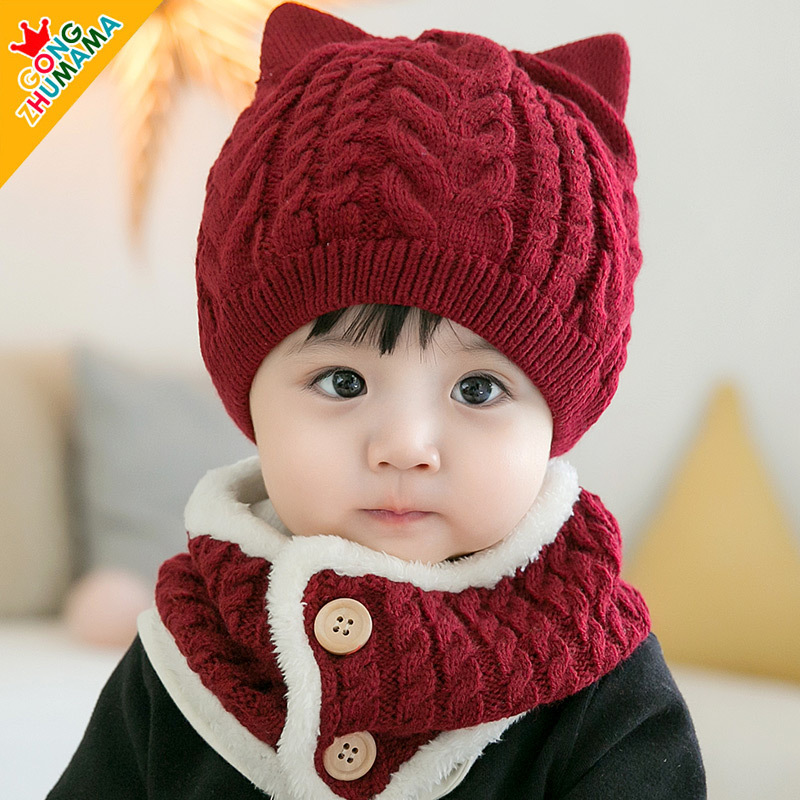 Knitting Dog Twist Wool Hat Scarf Set Autumn Winter New Baby Cute  Children Knitted  Beanie Hats