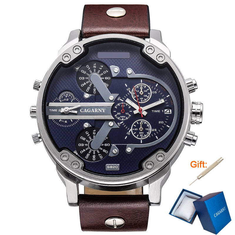 CAGARNY 50mm Big Watch Men Top Brand Luxury Quartz Watch Men Leather Watches Dual Dial Analog Calendar Military Male Wristwatch