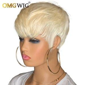 613 медовый блонд бордовый 99Jcolor короткий волнистый Боб Пикси обрезанный не кружевные передние человеческие волосы парики с челкой для черны...