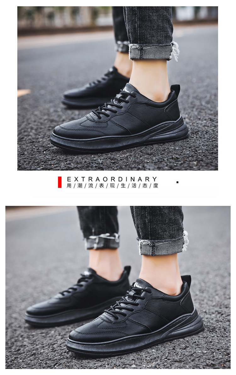 Bonjean Leisure New Sneakers Man Flat Comfortable Walking Sneaker Cheap Men PU Leather Mens Shoes Lightweight Male Shoes