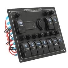 10 Gang Marine Rocker Switch Panel Met Digitale Spanning Display + Sigarettenaansteker + 10 Blauwe Led Aan uit knop Schakelaars