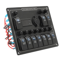 10 Gang Marine Rocker Switch Panel with Digital Voltage Display + Cigarette Lighter + 10 Blue LED ON Off Button Switches
