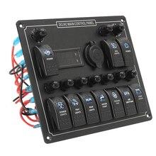 Panel de interruptor basculante marino de 10 entradas con pantalla Digital de voltaje + encendedor + 10 interruptores de botón de encendido y apagado LED azul