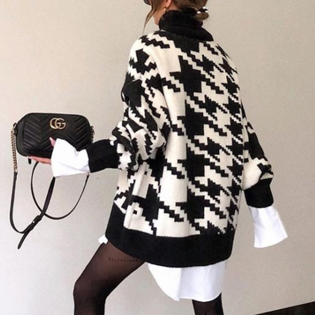 Elegant Turtleneck Sweaters Vintage Geometric