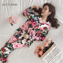JULYS SONG المرأة فو لباس نوم من الحرير بيجامة من الساتان مجموعة زهرة طباعة طويلة الأكمام 2 قطعة الخريف الشتاء Pajamay Homewear