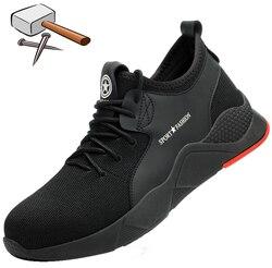 Homens Respiráveis leves Sapatos de Segurança Sapatos de Trabalho Biqueira de Aço Para Homens Anti-esmagamento Construção Sneaker