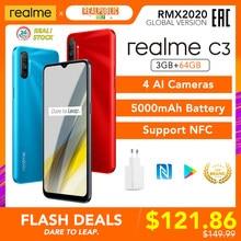 Realme-móvil C3, 3GB RAM + 64GB ROM, 5000mAh, Helio G70, 3 cámaras traseras HD + 2MP + 2MP, NFC, versión Global