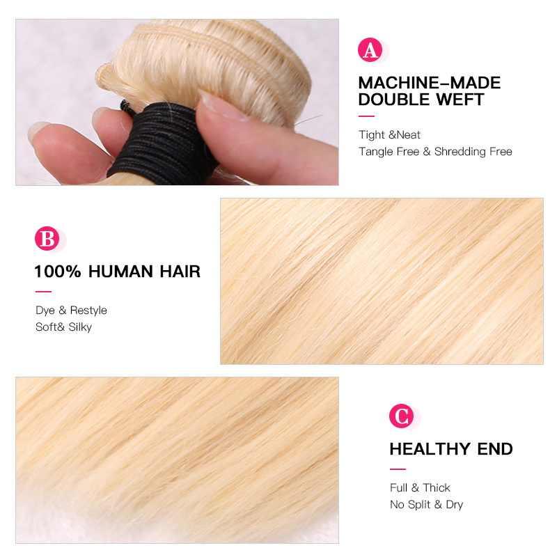 Facebeauty 613 blond 1/3/4 brazylijski włosy Bundle prosto splot wiązek Remy ludzki włos wyplata doczepiane włosy 26 28 30 32 34 36 38 40 Cal darmowa wysyłka