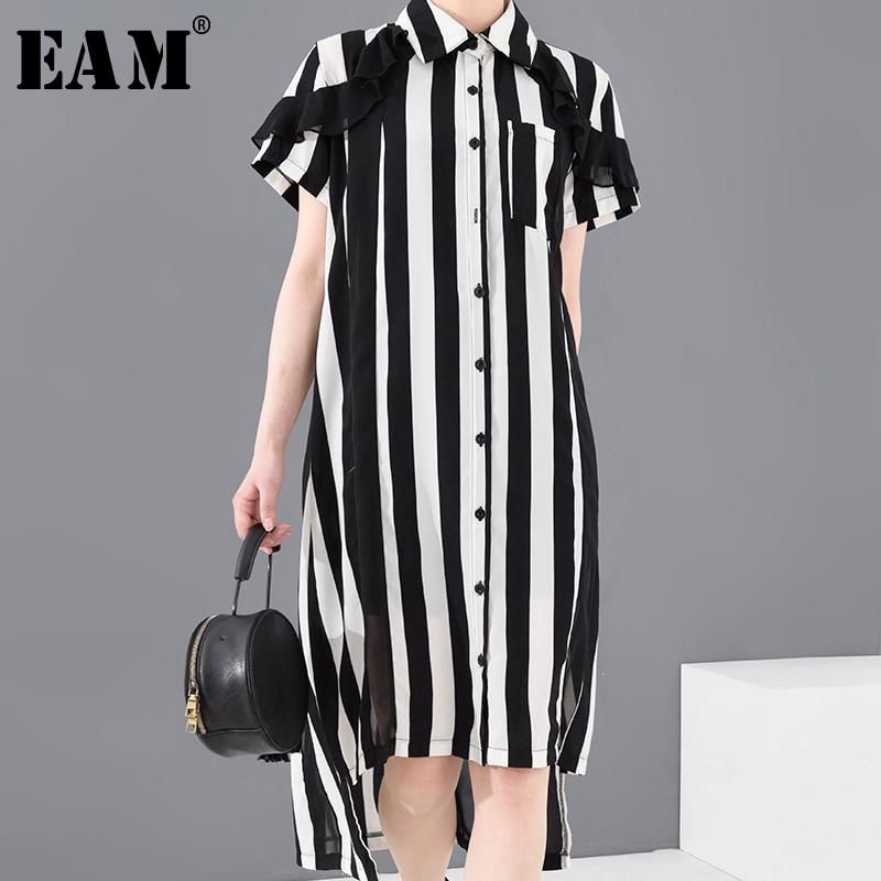 [EAM] Women Black Striped Stitch Big Size Shirt Dress New Lapel Short Sleeve Loose Fit Fashion Tide Spring Summer 2020 1T65301