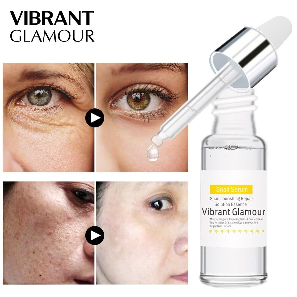 VIBRANT GLAMOUR Snail Anti-Aging Face Serum Hyaluronic Acid Liquid Whitening Shink Pores Mosturizing Anti Ance Cream Skin Care