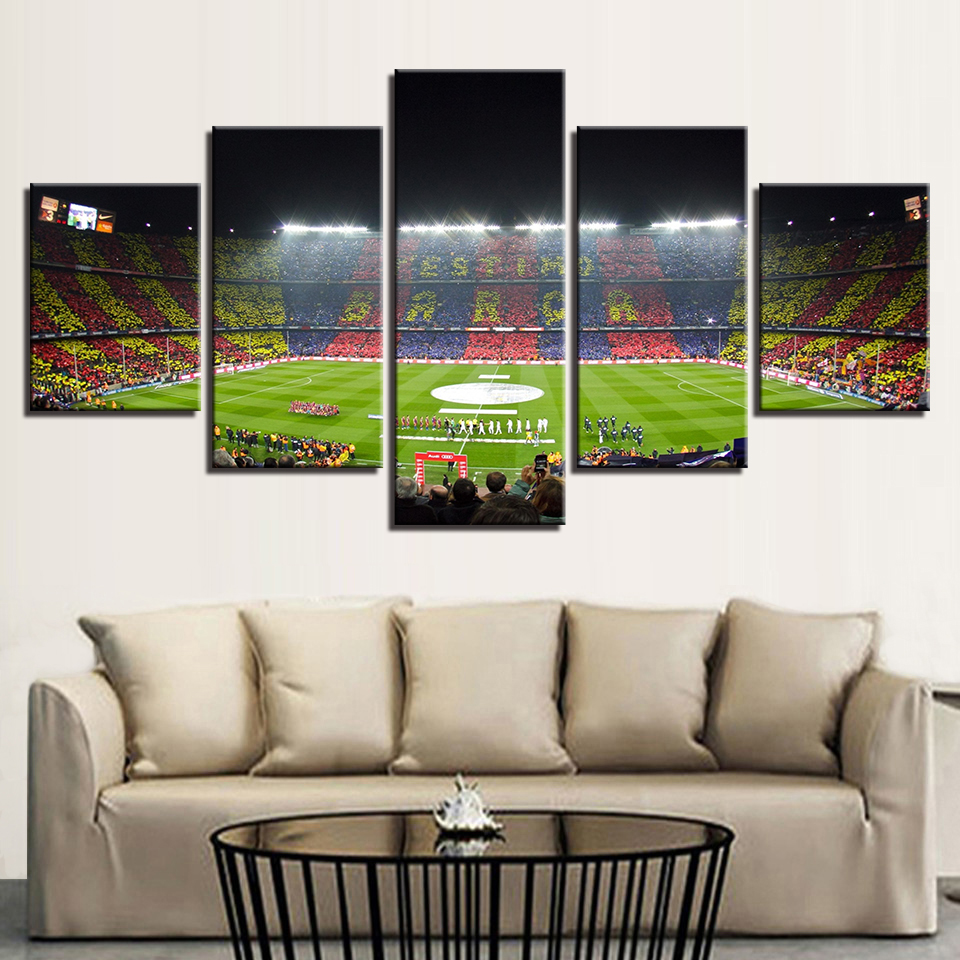 FC Barcelona Pitch Football Canvas Wall Art Picture Print