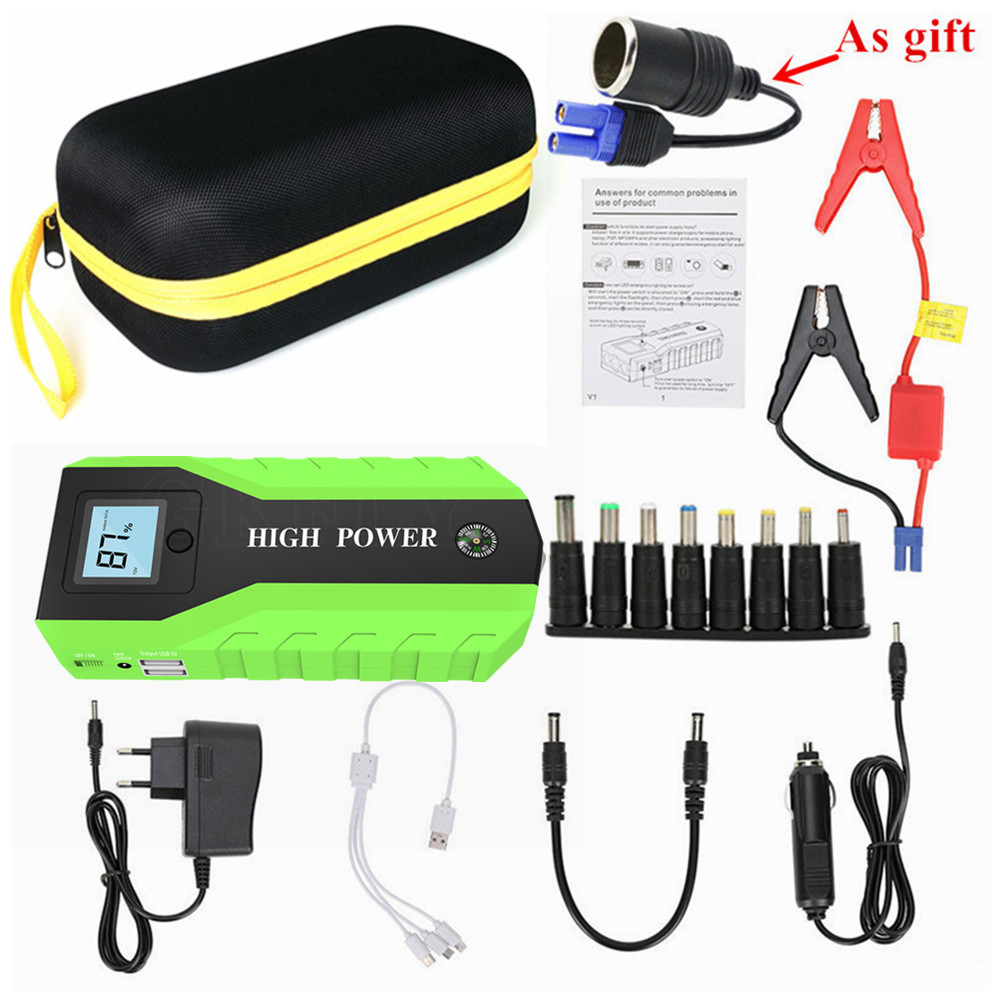 Multi Function 89800mA Starting Device 12V 600A Car Jump Starter Power Bank Petrol Diesel Car Charger