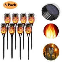 Flame-Lamp Torch-Light Solar 12/33/96led Landscape-Decoration Outdoor Waterproof 8pcs