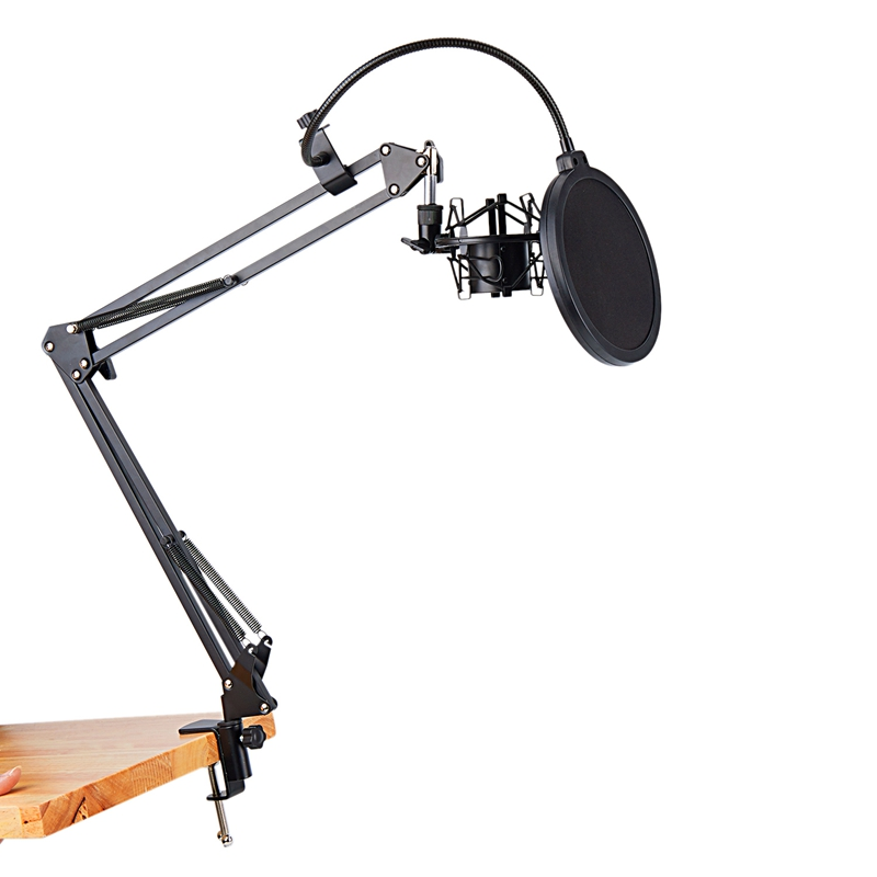 Image 2 - NB 35 Microphone Scissor Arm Stand and Table Mounting Clamp&NW Filter Windscreen Shield & Metal Mount KitMic Stand   - AliExpress