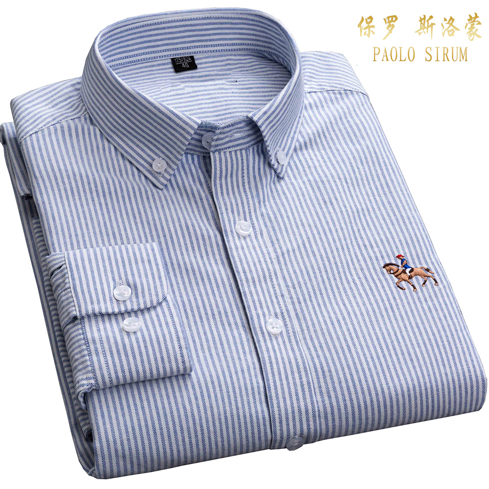 Casual Striped Dress Shirts For Men Pure Cotton Oxford Long Sleeve Embroidery Logo Design Regular Fit Fashion Stylish Shirt
