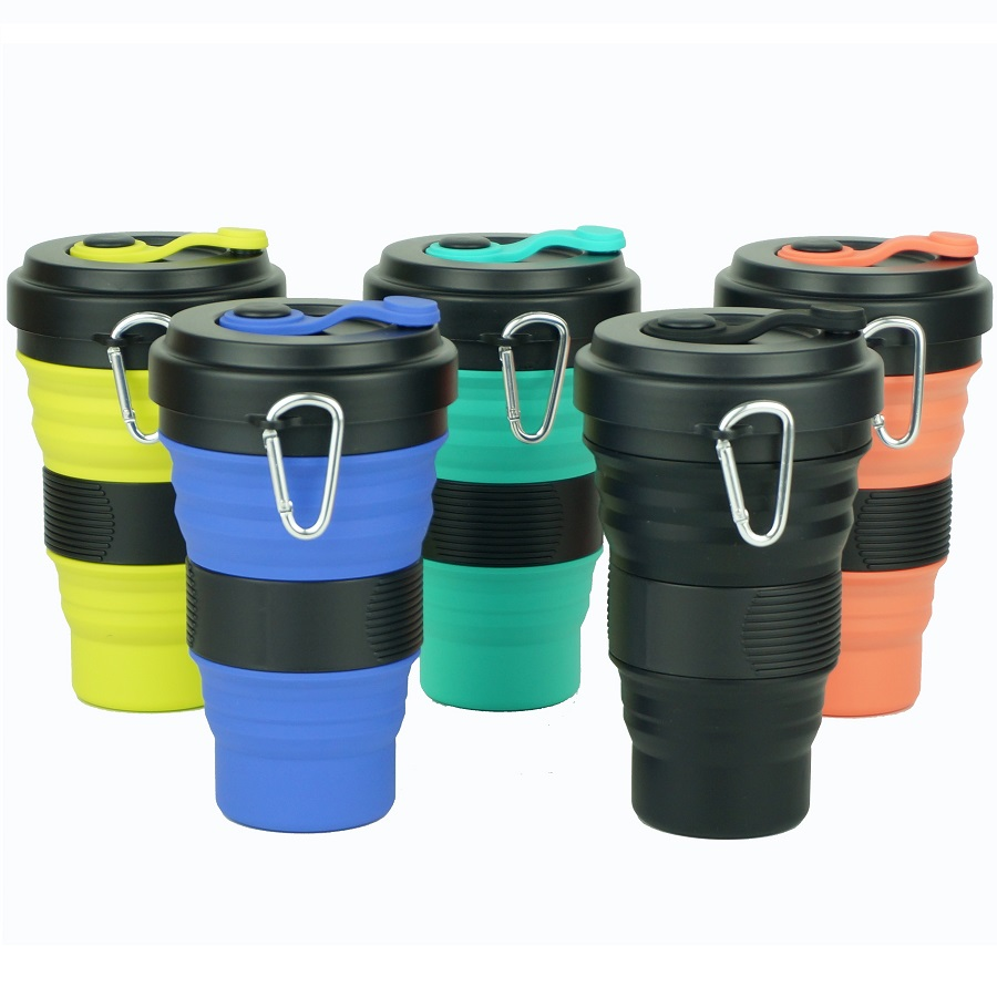 Creative 550ml Folding Silicone Cup Collapsible Travel Portable Cup With Straw Lids Coffee Mug Telescopic Drinking Water Bottle