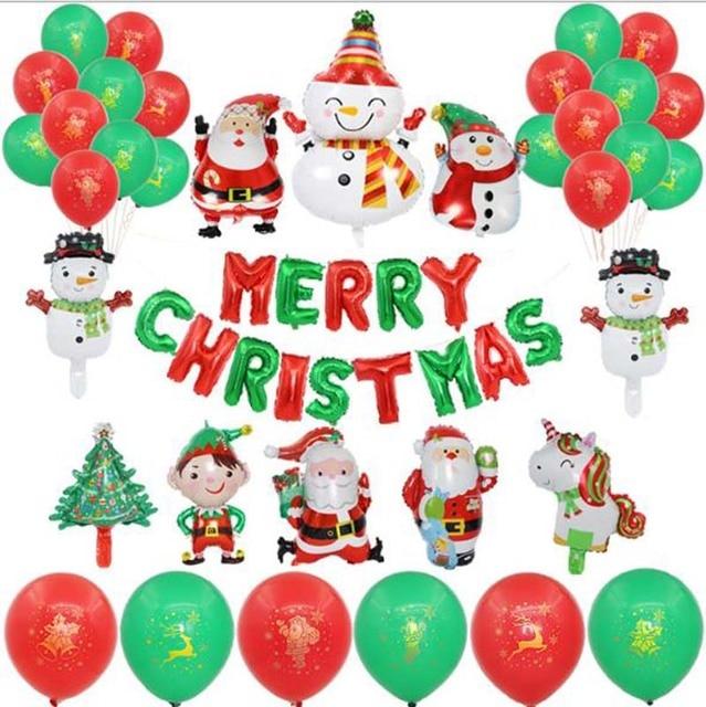 חתיכה החג שמח חדש שנה מסיבת חג המולד מסיבת רדיד בלון סנטה קלאוס עץ חג המולד חמוד איש שלג בצורת בלון דקור