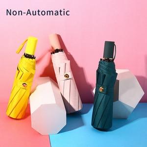 Image 2 - Wysokiej jakości parasol automatyczny deszcz kobiet trzy składany parasol wiatroszczelny czysty kolor parasol kobiet wodoodporny parasol