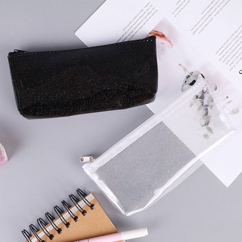 Sample Transparent Pencil Cases For Girls Cute PVC Pen Bag School Supplies Stationery Pouch Kawaii Pencil Box Canetas Escolar