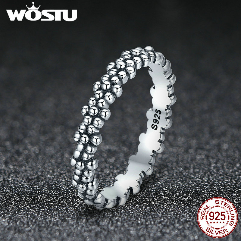 WOSTU 100% Real 925 Sterling Silver Rings 2020 New Desgin Simple & Stylish Shape Rings Hot Fashion S925 Jewelry DXR574