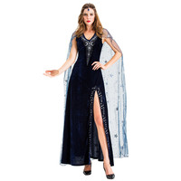 Maxi Dress Women Halloween Cosplay Vintage Style Pharaoh Star Split Witch Dress Vestidos De Mujer