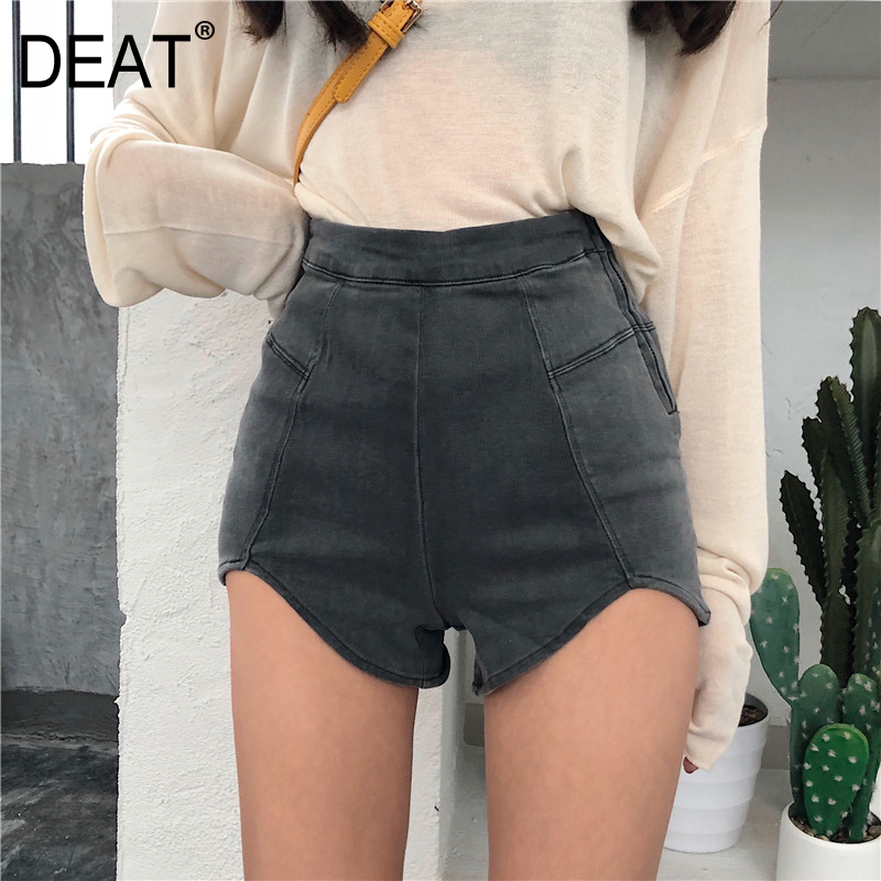 DEAT 2020 New Spring And Summer Fashion High Waist Slim Elastic Denim Shorts Female Zippers Denim Short Pants WL16402L