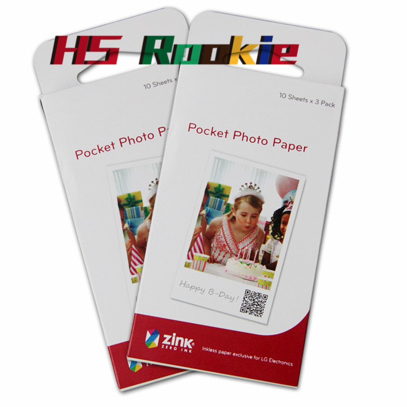 60 Sheets Photographic Paper Zink PS2203 Smart Mobile Printer For LG Photo Printer PD221 PD251 PD233 PD239 Printer Paper