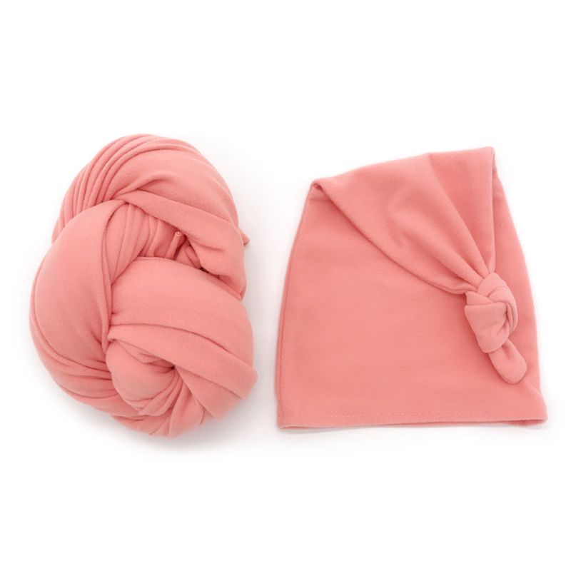 Stretch Baby Wrap+ Hat Newborn Photography Props Soft Solid Color Photo Wraps D0AF