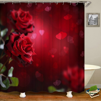 3D Red Rose Plants Flowers Bathroom Curtain Love Romance Bath Curtain Waterproof Fabric Shower Curtains Decor 240X180 With Hooks image