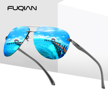 FUQIAN Fashion Rimless Pilot Men Polarized Sunglasses Stylis