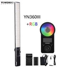 Yongnuo yn360 iii yn360iii bi color handheld luz de vídeo led toque ajustando 3200k  5500k rgb colortemperature com controle remoto