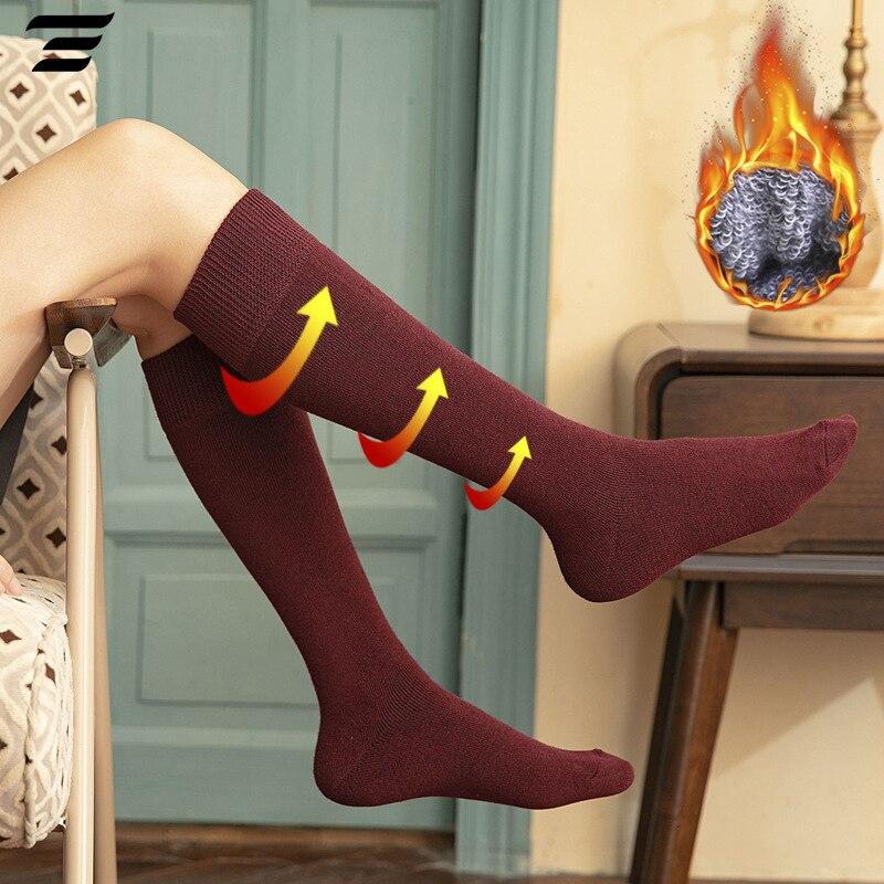 1 Pair Women's Socks Autumn Winter Fashion Long Socks Preppy Style Knee Socks Solid Color High Elastic Cotton Thick Terry Socks