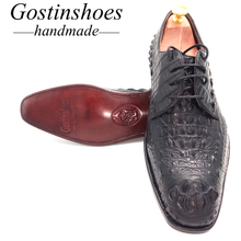 SALE 44 Goodyear Handmade Men Dress Shoes Black Genuine Crocodile Leather Luxury Men Formal Shoes Oxfords Lace-up Pointed Toe heinrich hot sale genuine leather handmade formal shoes men vintage carved lace up oxfords top quality flat shoes schuhe herren
