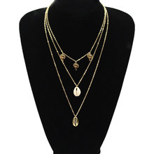 Simple Bohemian Palm Tree Shell Necklace Pendants Women Multilayer Gold Silver Long Chain Necklaces silver multilayer chain necklace