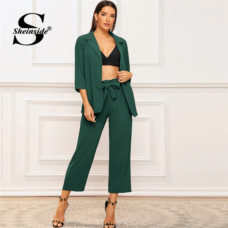 Sheinside Elegant Green 3/4 Sleeve Blazer And Paperbag Waist Belted Pants Women 2019 Autumn Blazer 2 Piece Set Ladies Workwear