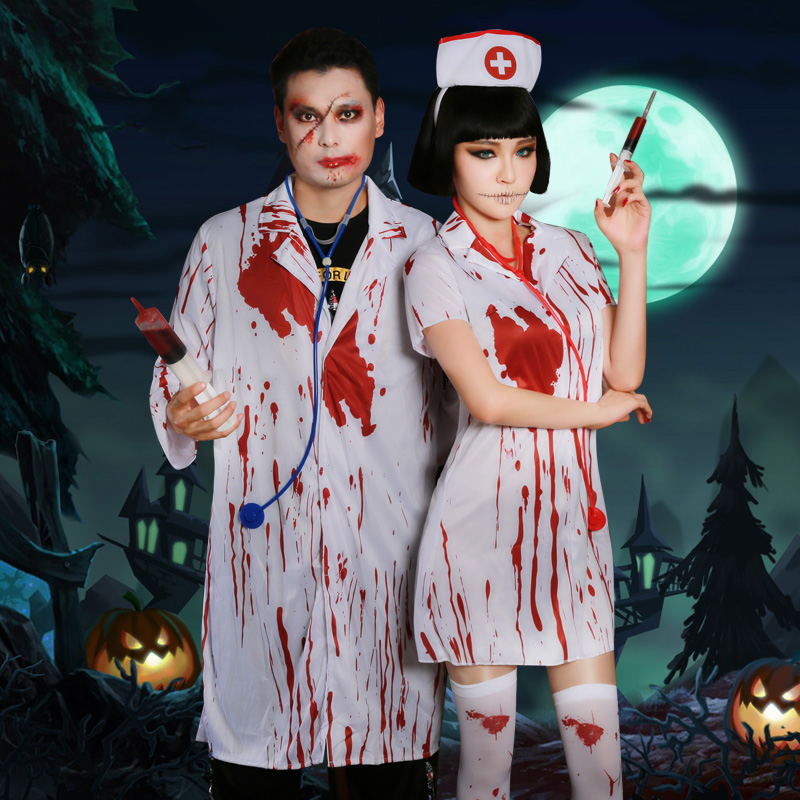 Rave Costume Halloween Terror Nurse Dress Bloodstained Male Doctor Scary Festival Party Bar Cosplay Helloween Rave Clothes L2699