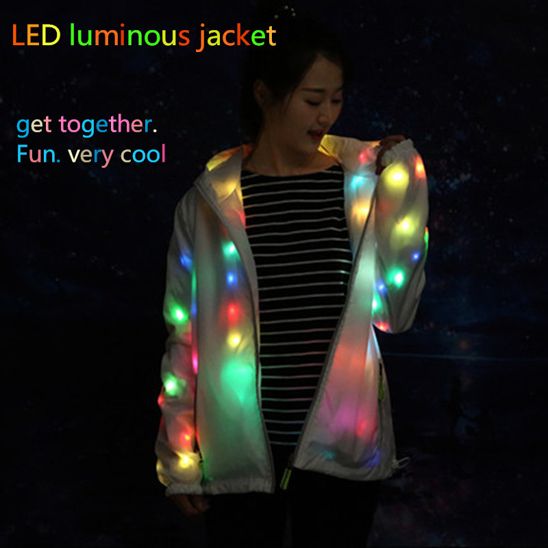 LED Party Clothing Colorful Glowing Casual Jacket Luminous Christmas Halloween Party Friends Party Glowing Dress