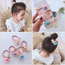 1- 4pcs Korean hair ties ring rope quicksand bubble ball elastic bands kids bow girls children accessories
