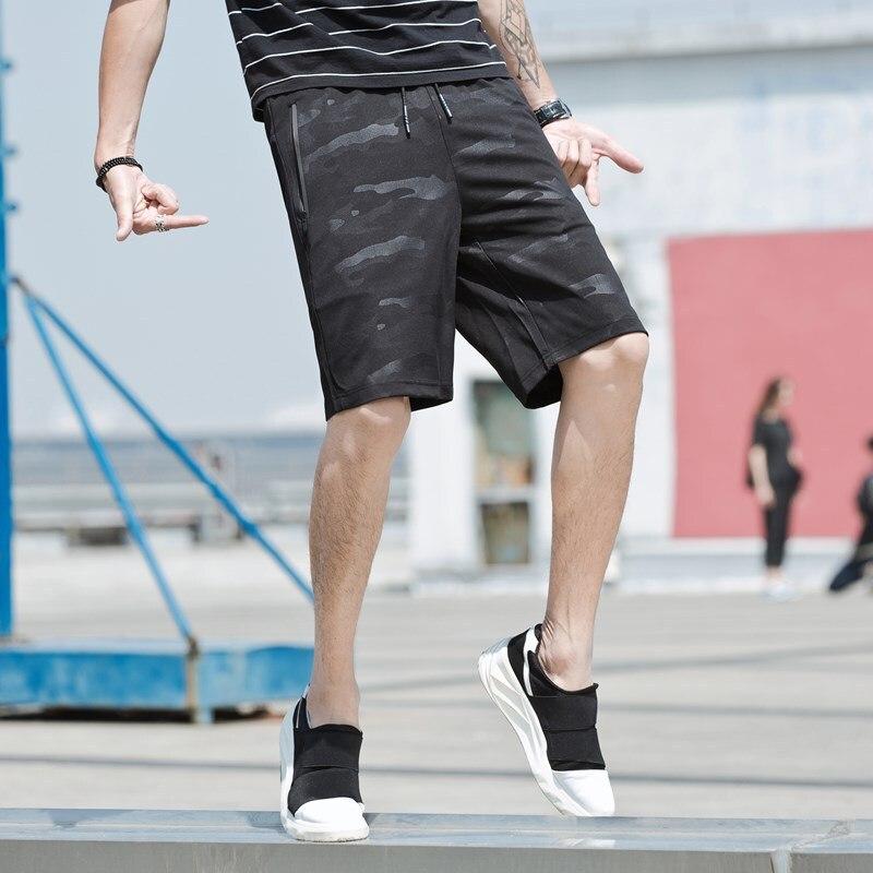 Summer New Style MEN'S Shorts Korean-style Slim Fit Dark Stripes Black Camouflage Shorts MEN'S Beach Shorts