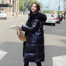 Women Jackets New Winter Parkas long sleeve Solid Women Warm Thicken Hooded With Fur Long Coat Shining Female Outerwear Coats цены онлайн