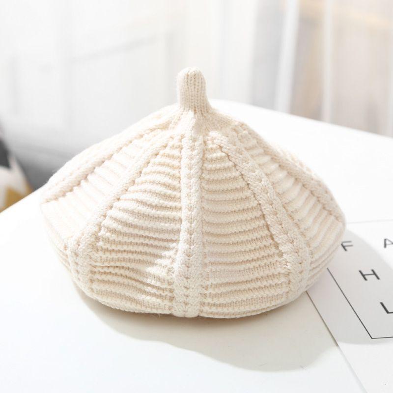 Детские береты унисекс, цветные детские вязаные береты, зимние теплые детские шапки с тыквой, шапка для художников