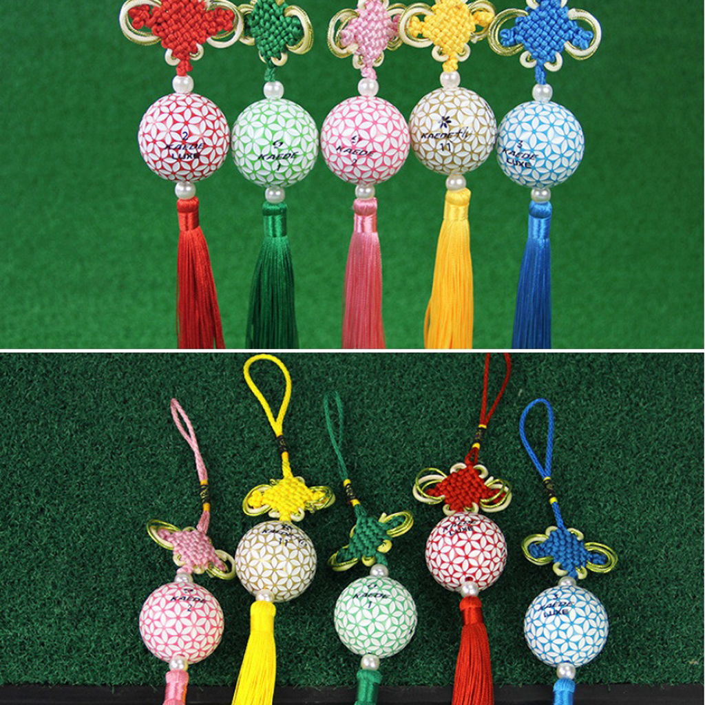 Handmade Chinese Knot Tassel Sakura Golf Ball Accessories Hanging Ornament Car Pendant Golfer Gift