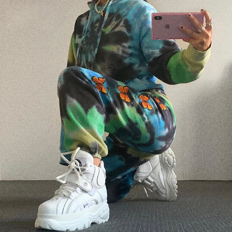 SEASONS Butterfly Print Tie Dye Pants Women Fashion High Waist Loose Sweatpants Hip Hop Joggers Trousers Summer 2020 ASPA80717